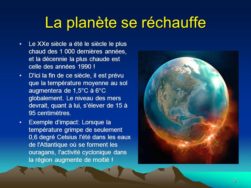 2 La planète se réchauffe Le XXe siècle a été le siècle le plus chaud des 1 000 dernières années, et la décennie la plus chaude est celle des années 1