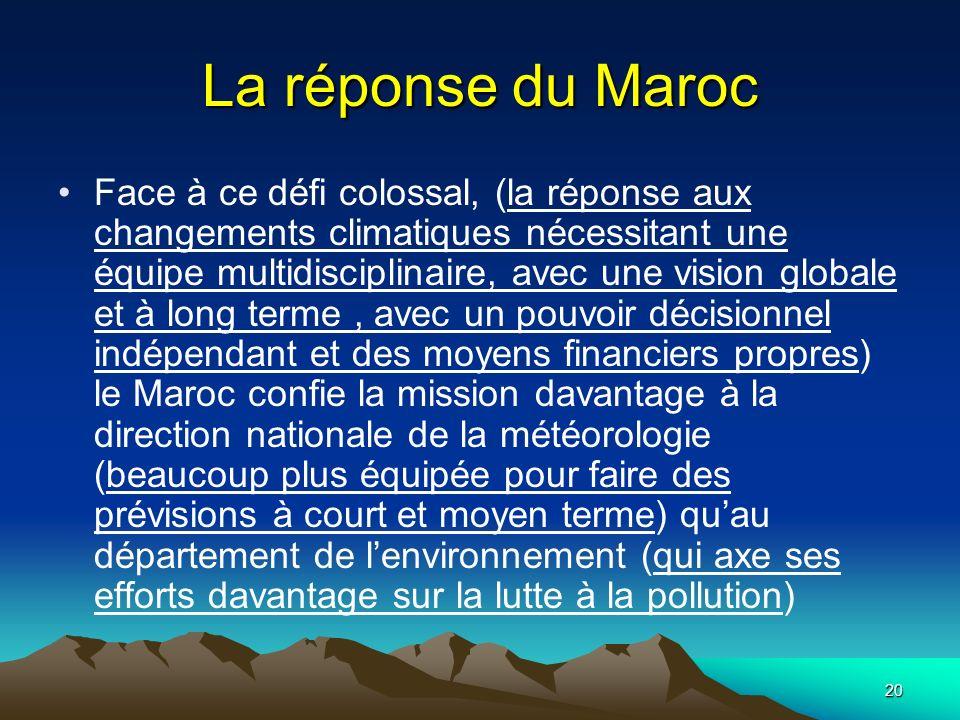 20 La réponse du Maroc Face à ce défi colossal, (la réponse aux changements climatiques nécessitant une équipe multidisciplinaire, avec une vision glo
