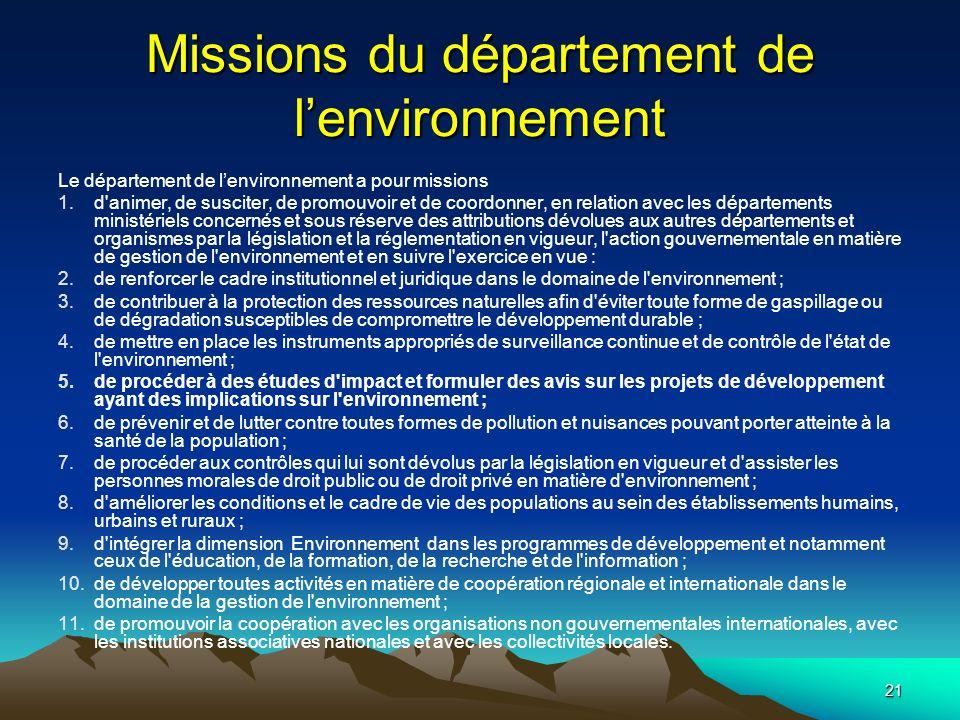 21 Missions du département de lenvironnement Le département de lenvironnement a pour missions 1.d'animer, de susciter, de promouvoir et de coordonner,