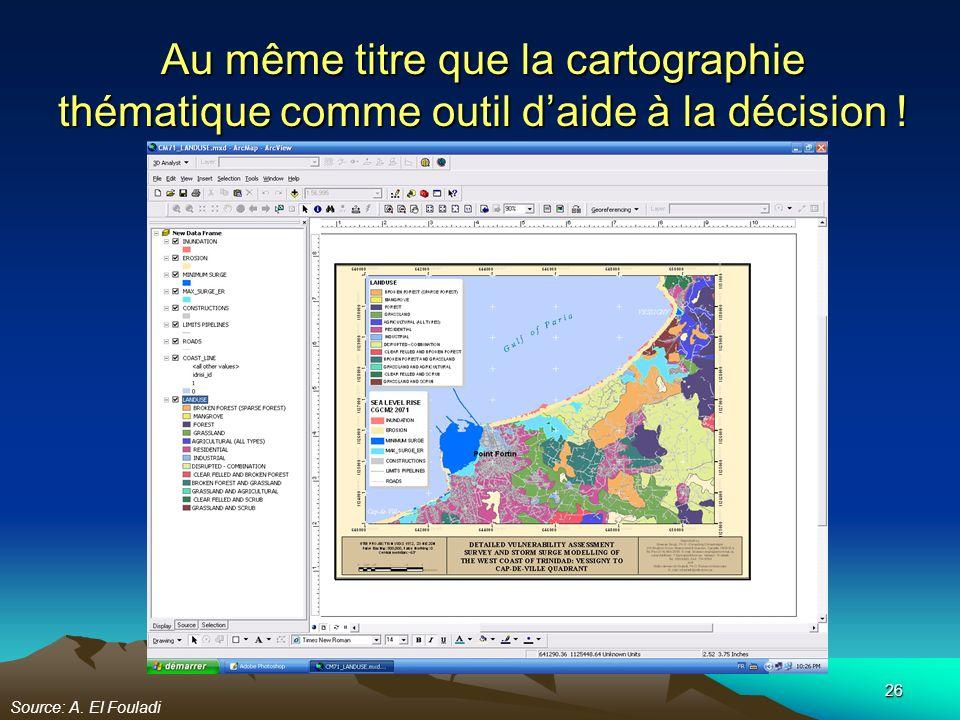 26 Au même titre que la cartographie thématique comme outil daide à la décision ! Source: A. El Fouladi