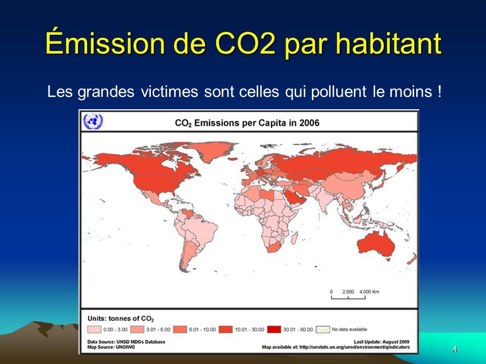 5 Émission de CO2 par habitant Données pour lannée 2009 Maroc (2006): 1,47 tonne /habitant Mettre le problème dans son contexte global: Exemple la Chine est un grand pollueur… Pas le chinois !