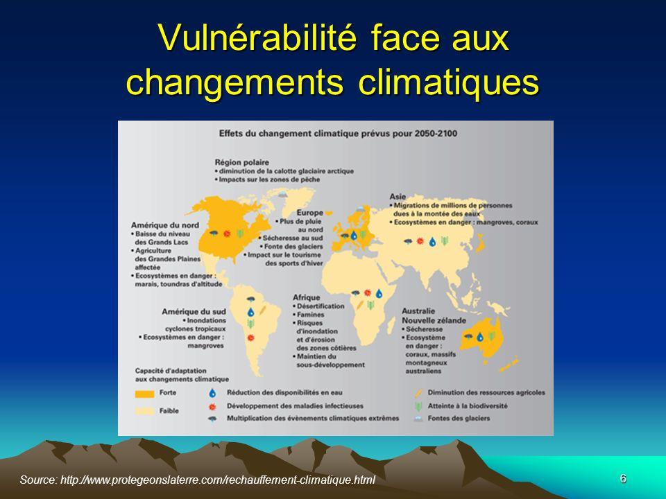 6 Vulnérabilité face aux changements climatiques Source: http://www.protegeonslaterre.com/rechauffement-climatique.html