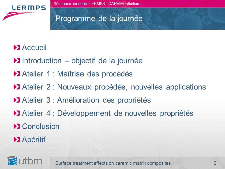 2 Séminaire annuel du LERMPS – CAPM Montbéliard Accueil Introduction – objectif de la journée Atelier 1 : Maîtrise des procédés Atelier 2 : Nouveaux p