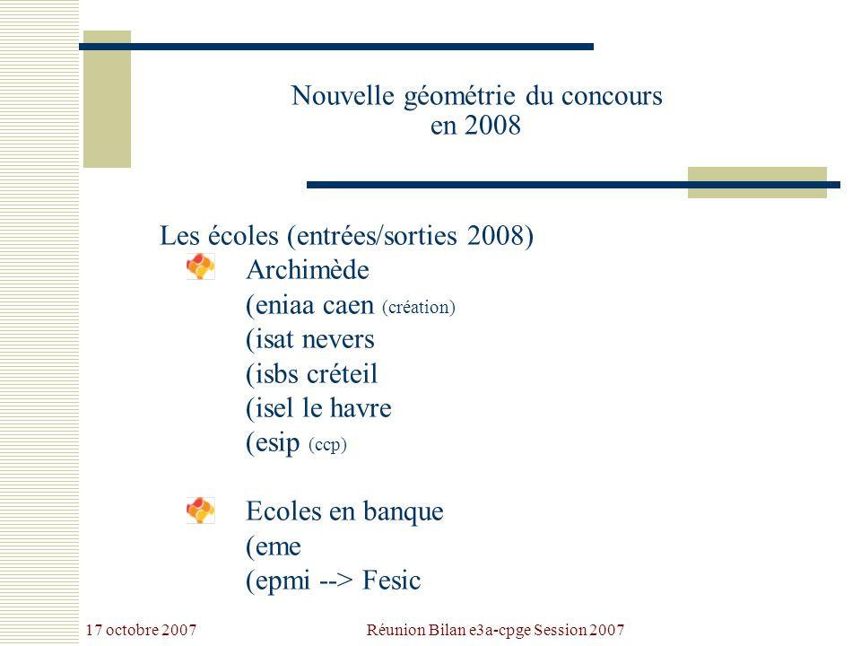 17 octobre 2007 Réunion Bilan e3a-cpge Session 2007 Nouvelle géométrie du concours en 2008 Les écoles (entrées/sorties 2008) Archimède (eniaa caen (création) (isat nevers (isbs créteil (isel le havre (esip (ccp) Ecoles en banque (eme (epmi --> Fesic