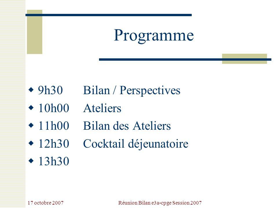 17 octobre 2007 Réunion Bilan e3a-cpge Session 2007 Programme 9h30Bilan / Perspectives 10h00Ateliers 11h00Bilan des Ateliers 12h30Cocktail déjeunatoire 13h30