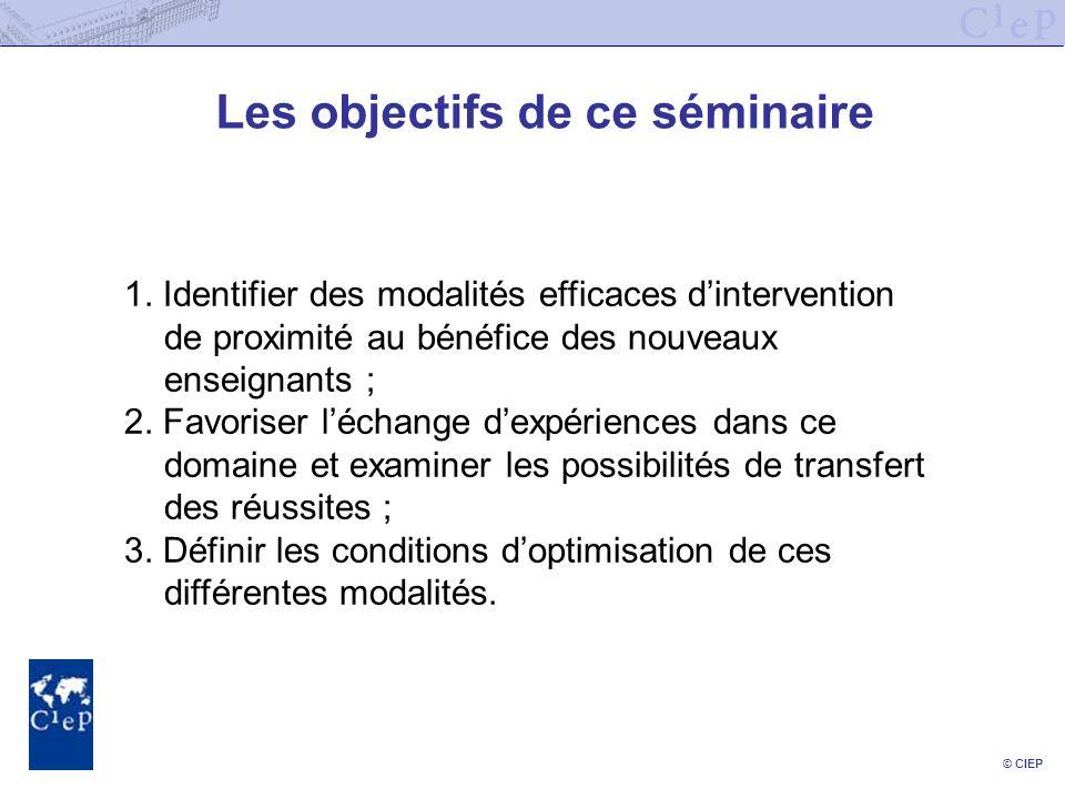 © CIEP Les objectifs de ce séminaire 1. Identifier des modalités efficaces dintervention de proximité au bénéfice des nouveaux enseignants ; 2. Favori
