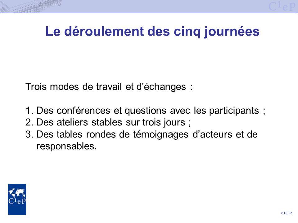 © CIEP Le déroulement des cinq journées Trois modes de travail et déchanges : 1. Des conférences et questions avec les participants ; 2. Des ateliers