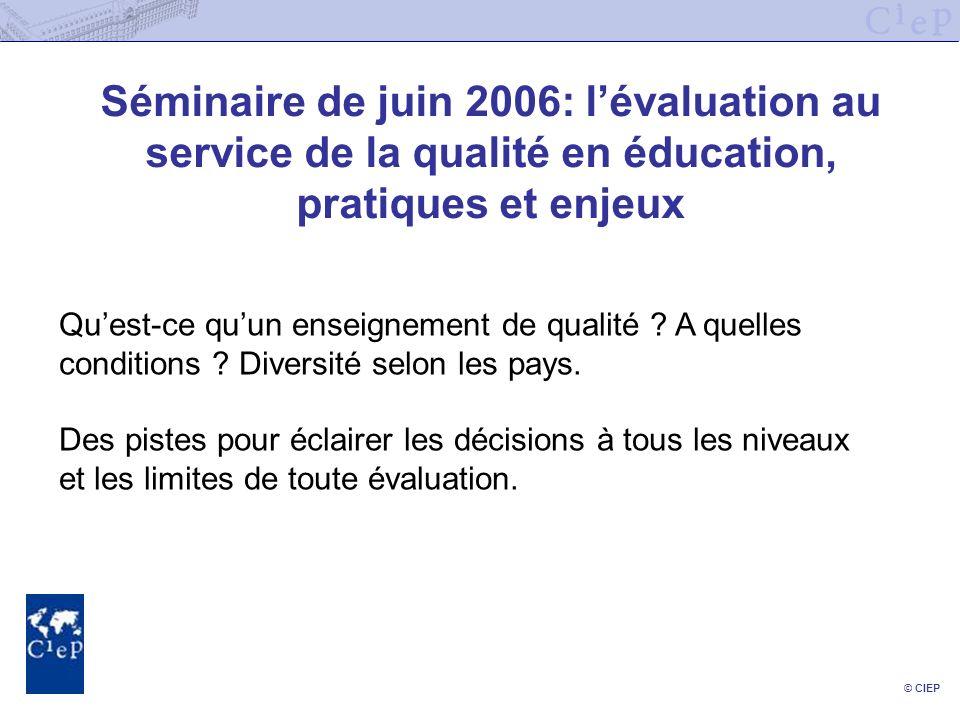 © CIEP Séminaire de juin 2006: lévaluation au service de la qualité en éducation, pratiques et enjeux Quest-ce quun enseignement de qualité ? A quelle