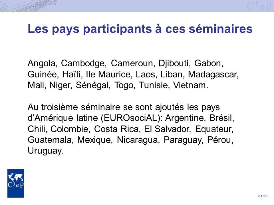 © CIEP Les pays participants à ces séminaires Angola, Cambodge, Cameroun, Djibouti, Gabon, Guinée, Haïti, Ile Maurice, Laos, Liban, Madagascar, Mali, Niger, Sénégal, Togo, Tunisie, Vietnam.