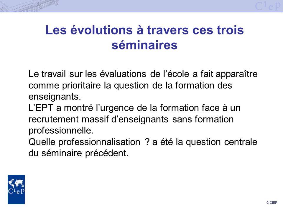 © CIEP Les évolutions à travers ces trois séminaires Le travail sur les évaluations de lécole a fait apparaître comme prioritaire la question de la fo