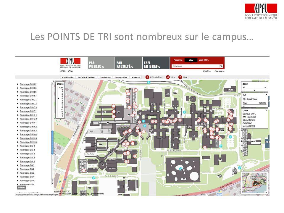 Les POINTS DE TRI sont nombreux sur le campus…