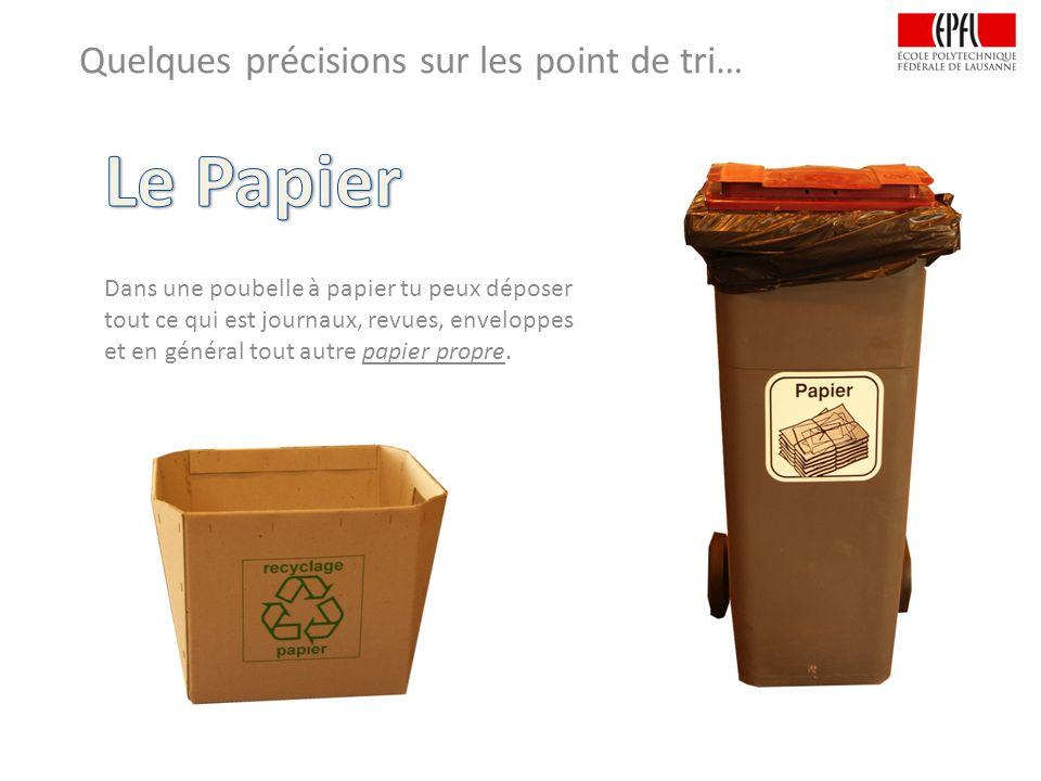 Quelques précisions sur les point de tri… Dans une poubelle à papier tu peux déposer tout ce qui est journaux, revues, enveloppes et en général tout autre papier propre.