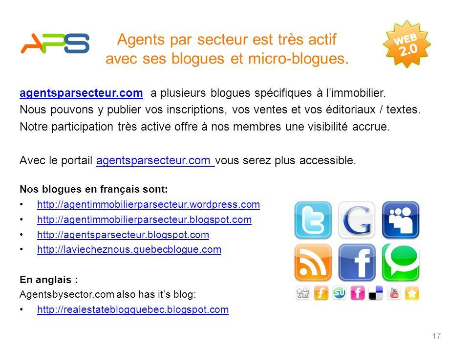 www.agentsparsecteur.comwww.agentsparsecteur.com est très actif dans cet aspect du Web. Le contenu du Web 2.0 est maintenant reconnu par les moteurs d