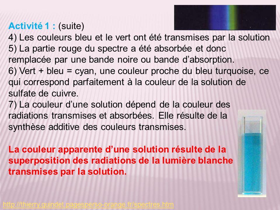 Activité 1 : (suite) 4) Les couleurs bleu et le vert ont été transmises par la solution 5) La partie rouge du spectre a été absorbée et donc remplacée