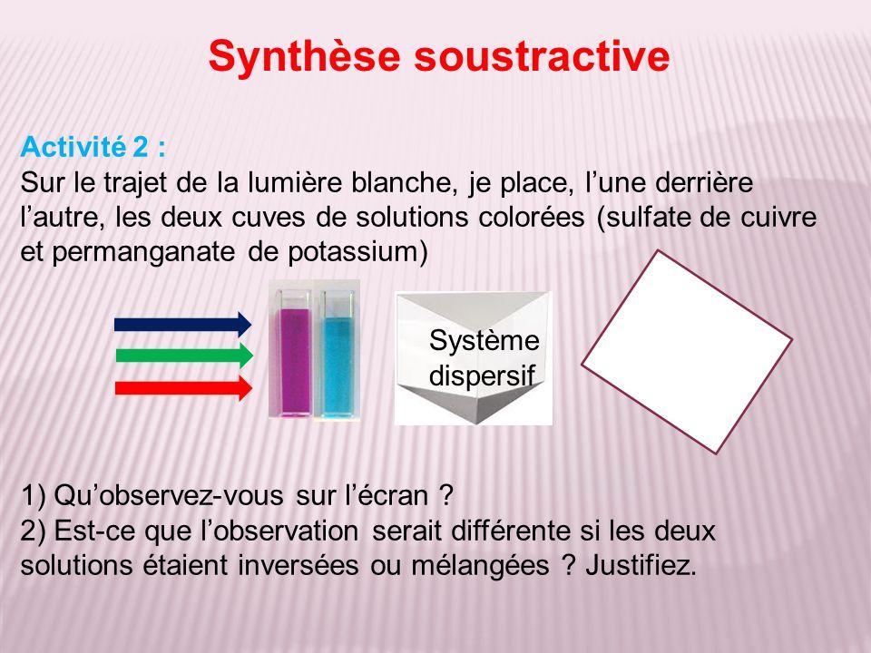 Activité 2 : correction 1)Le vert est absorbé par la première solution Le rouge est absorbé par la seconde.