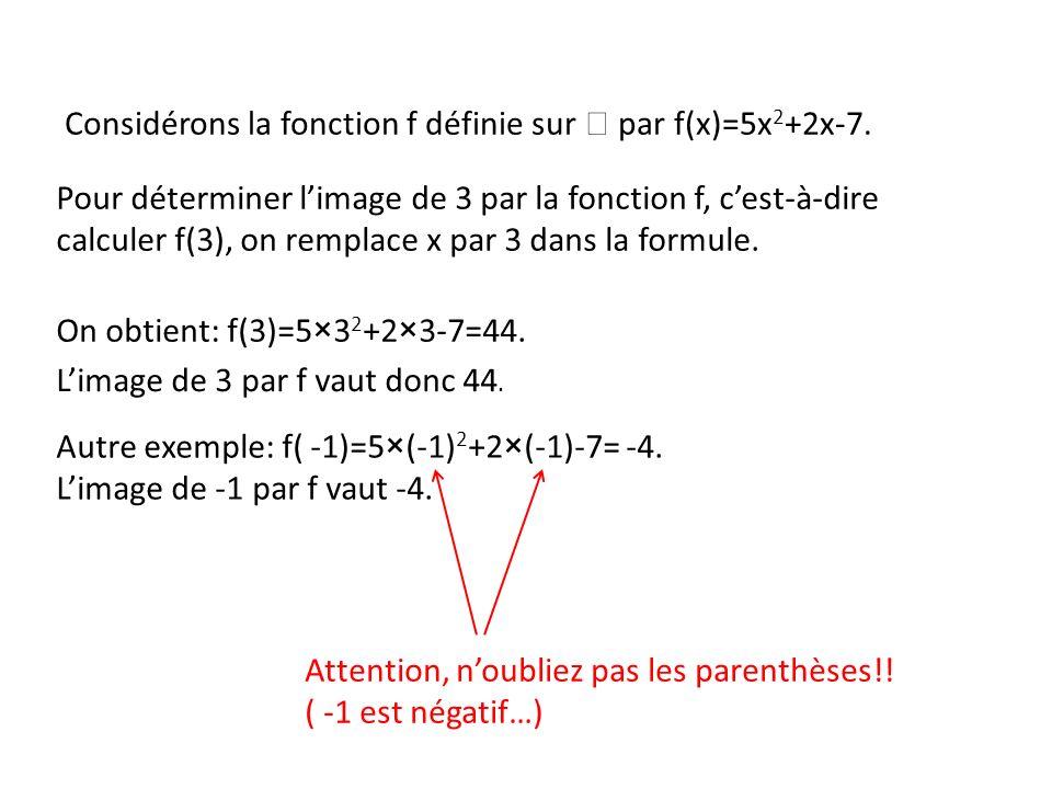 Considérons la fonction f définie sur par f(x)=5x 2 +2x-7. Pour déterminer limage de 3 par la fonction f, cest-à-dire calculer f(3), on remplace x par