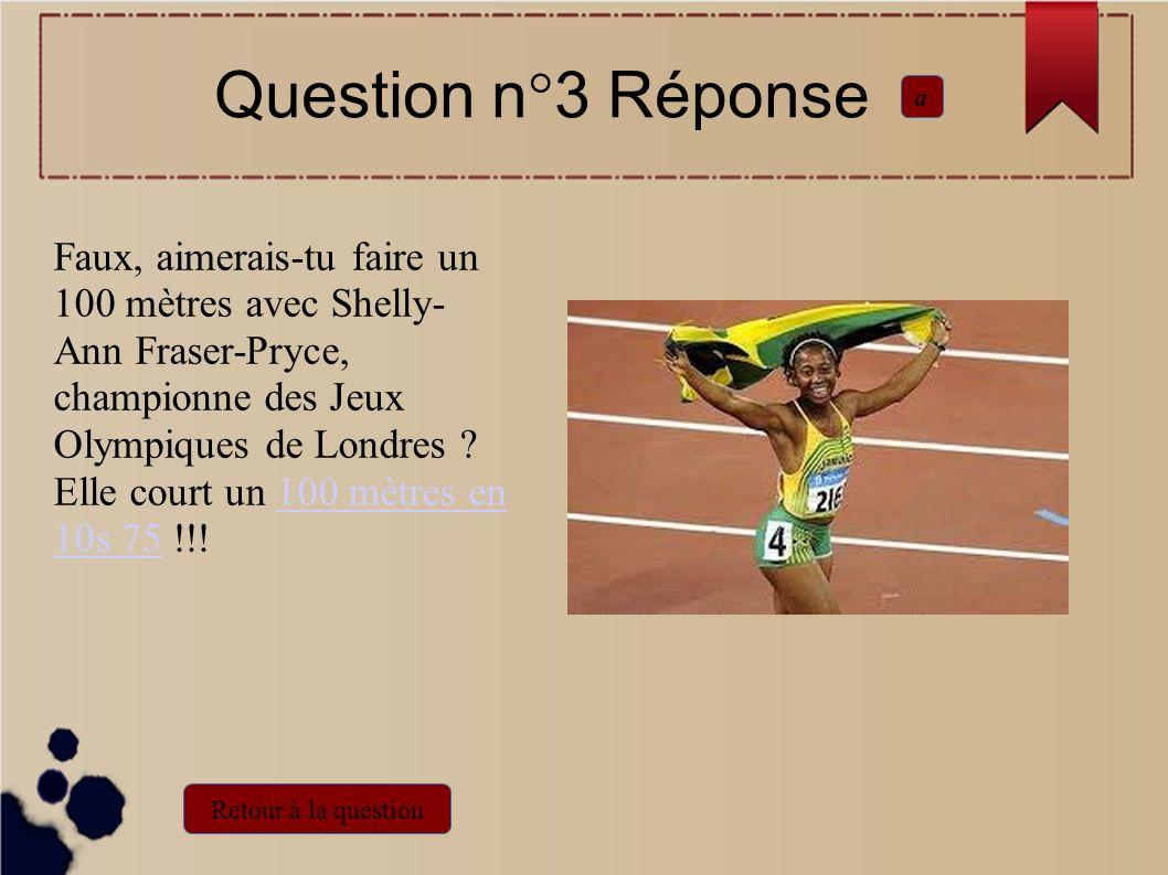 Faux, aimerais-tu faire un 100 mètres avec Shelly- Ann Fraser-Pryce, championne des Jeux Olympiques de Londres ? Elle court un 100 mètres en 10s 75 !!
