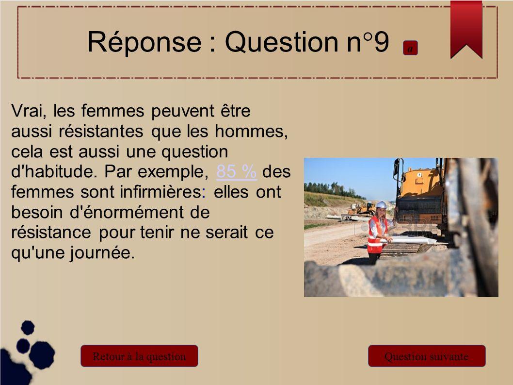 Réponse : Question n°9 a Retour à la questionQuestion suivante Vrai, les femmes peuvent être aussi résistantes que les hommes, cela est aussi une ques