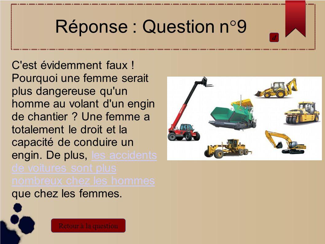 C'est évidemment faux ! Pourquoi une femme serait plus dangereuse qu'un homme au volant d'un engin de chantier ? Une femme a totalement le droit et la