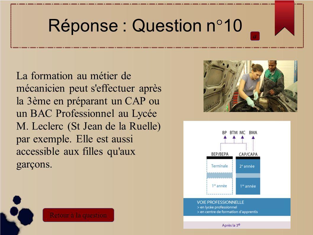 La formation au métier de mécanicien peut s'effectuer après la 3ème en préparant un CAP ou un BAC Professionnel au Lycée M. Leclerc (St Jean de la Rue