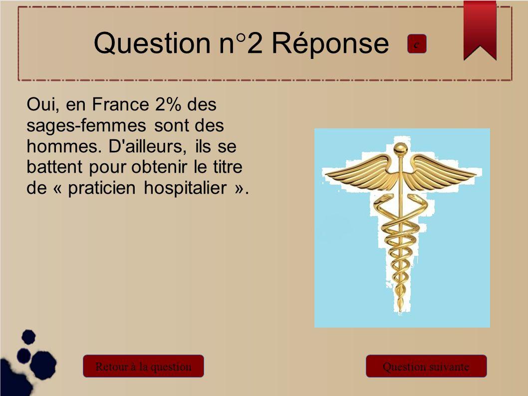 Oui, en France 2% des sages-femmes sont des hommes. D'ailleurs, ils se battent pour obtenir le titre de « praticien hospitalier ». Question n°2 Répons