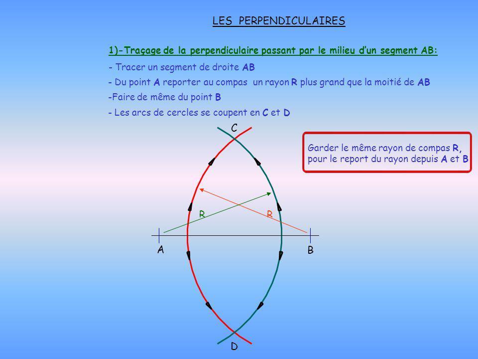 1)-Traçage de la perpendiculaire passant par le milieu dun segment AB: - Du point A reporter au compas un rayon R plus grand que la moitié de AB C A B