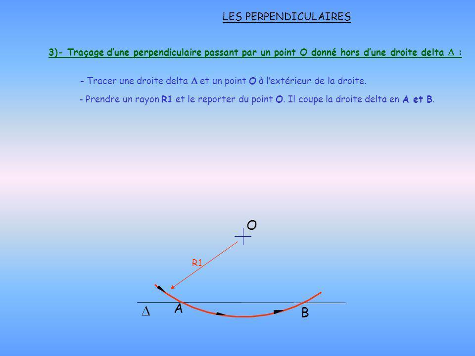 LES PERPENDICULAIRES O B A R1 - Prendre un rayon R1 et le reporter du point O. Il coupe la droite delta en A et B. 3)- Traçage dune perpendiculaire pa