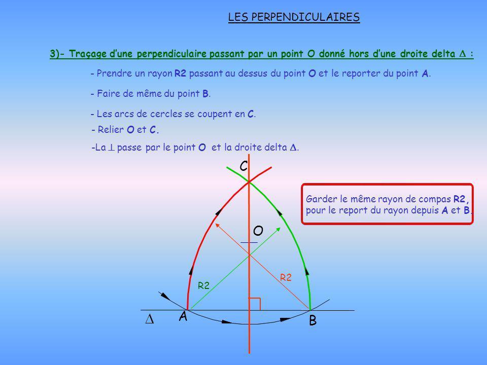 LES PERPENDICULAIRES O C B A - Prendre un rayon R2 passant au dessus du point O et le reporter du point A. - Faire de même du point B. - Les arcs de c