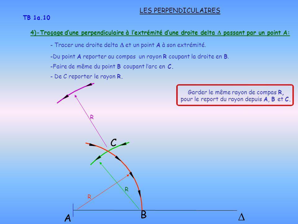 LES PERPENDICULAIRES TB 1a.10 B C -Du point A reporter au compas un rayon R coupant la droite en B. -Faire de même du point B coupant larc en C. - De