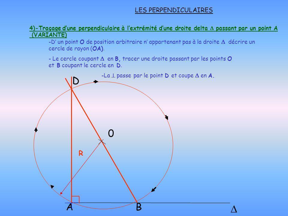 LES PERPENDICULAIRES A B D -D un point O de position arbitraire n appartenant pas à la droite décrire un cercle de rayon (OA). 4)-Traçage dune perpend