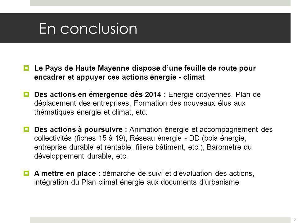 En conclusion Le Pays de Haute Mayenne dispose dune feuille de route pour encadrer et appuyer ces actions énergie - climat Des actions en émergence dès 2014 : Energie citoyennes, Plan de déplacement des entreprises, Formation des nouveaux élus aux thématiques énergie et climat, etc.