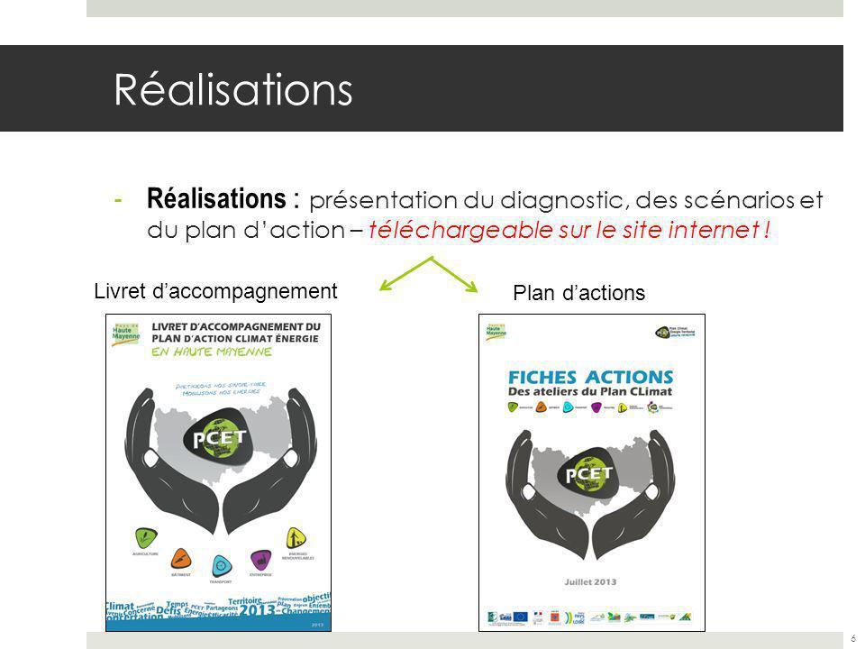 Réalisations - Réalisations : présentation du diagnostic, des scénarios et du plan daction – téléchargeable sur le site internet .