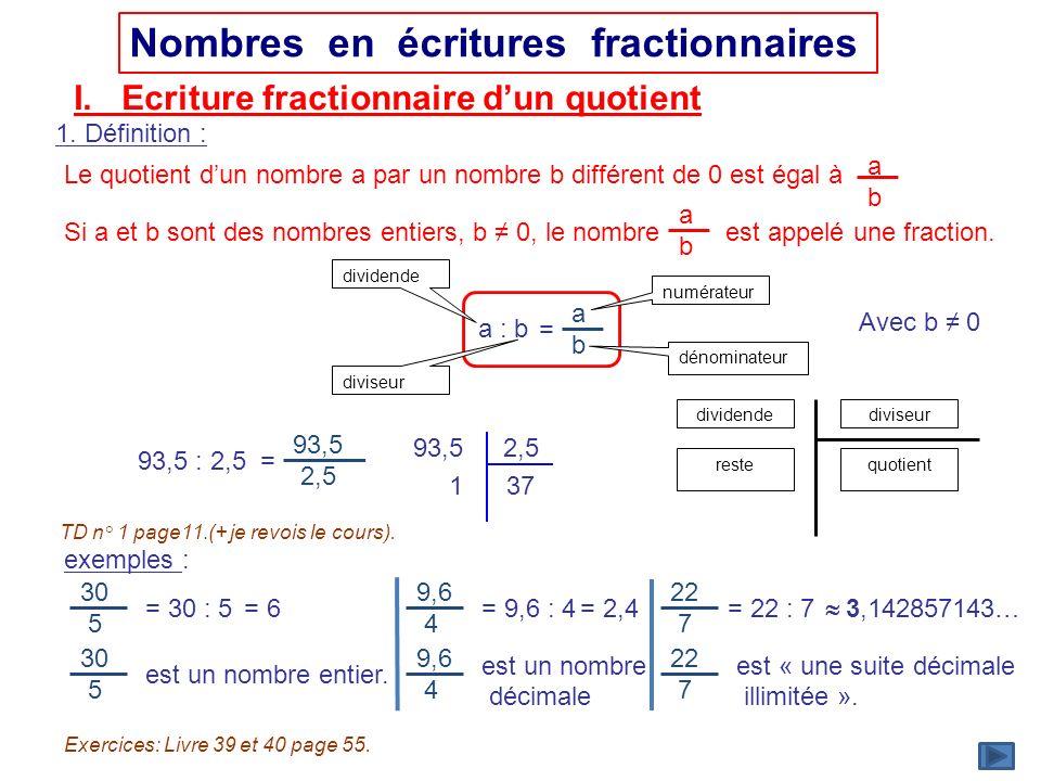 dividende diviseur numérateur dénominateur dividendediviseur quotientreste Nombres en écritures fractionnaires I. Ecriture fractionnaire dun quotient