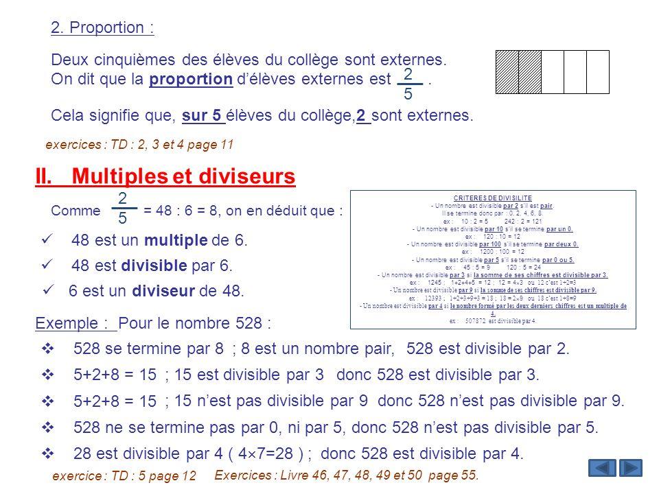 2. Proportion : Deux cinquièmes des élèves du collège sont externes. On dit que la proportion délèves externes est. exercices : TD : 2, 3 et 4 page 11