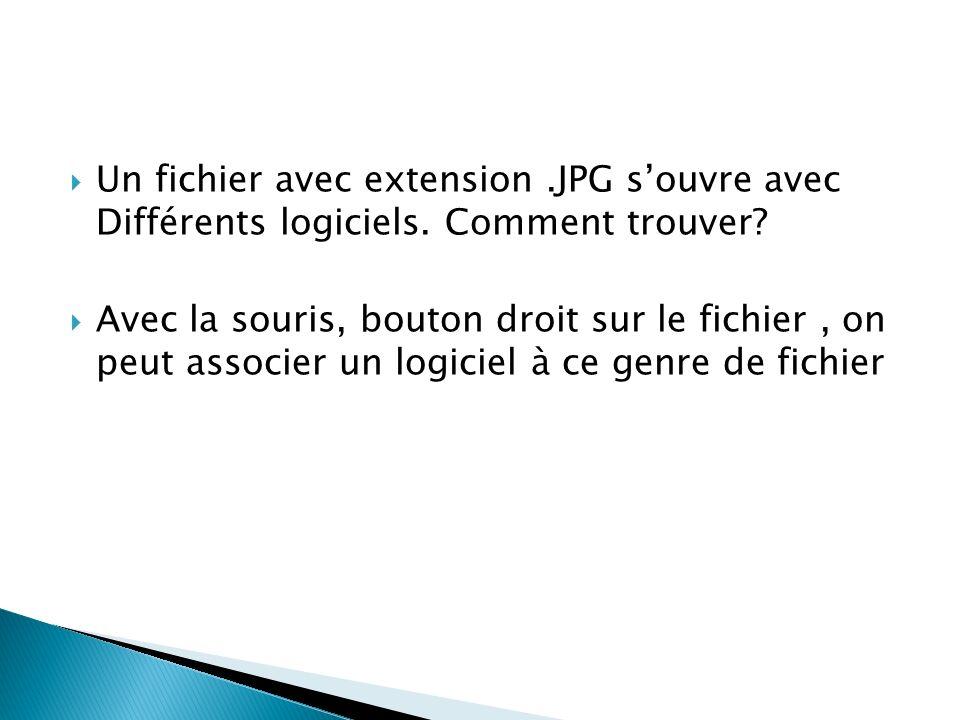 Un fichier avec extension.JPG souvre avec Différents logiciels.