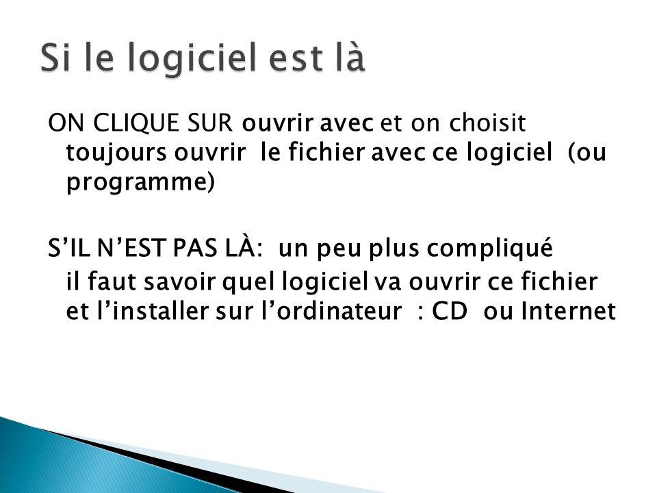 ON CLIQUE SUR ouvrir avec et on choisit toujours ouvrir le fichier avec ce logiciel (ou programme) SIL NEST PAS LÀ: un peu plus compliqué il faut savoir quel logiciel va ouvrir ce fichier et linstaller sur lordinateur : CD ou Internet