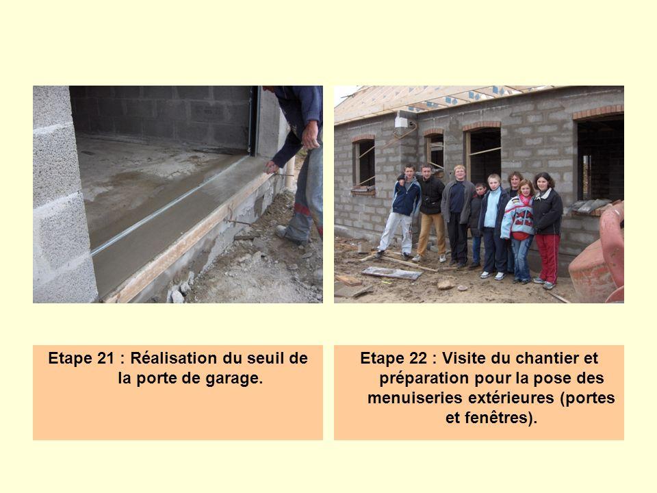 Etape 21 : Réalisation du seuil de la porte de garage. Etape 22 : Visite du chantier et préparation pour la pose des menuiseries extérieures (portes e