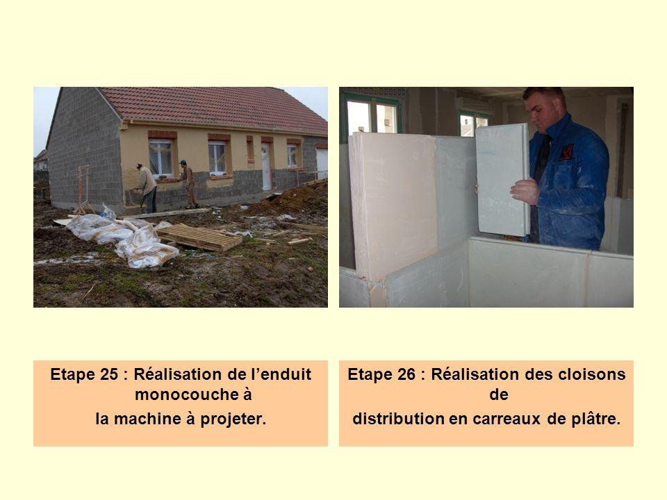 Etape 25 : Réalisation de lenduit monocouche à la machine à projeter. Etape 26 : Réalisation des cloisons de distribution en carreaux de plâtre.