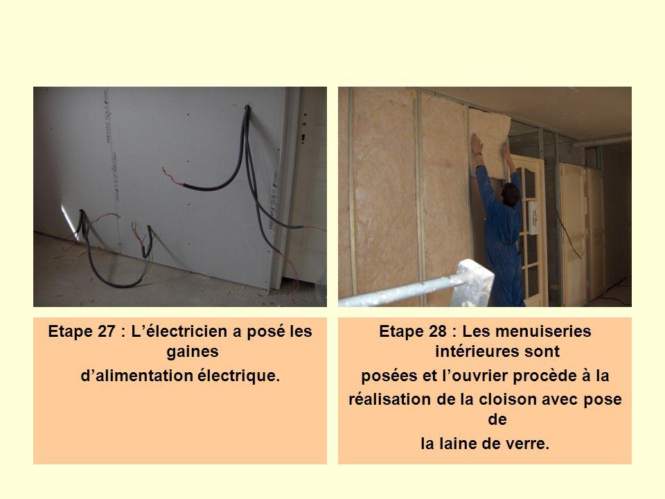 Etape 27 : Lélectricien a posé les gaines dalimentation électrique. Etape 28 : Les menuiseries intérieures sont posées et louvrier procède à la réalis