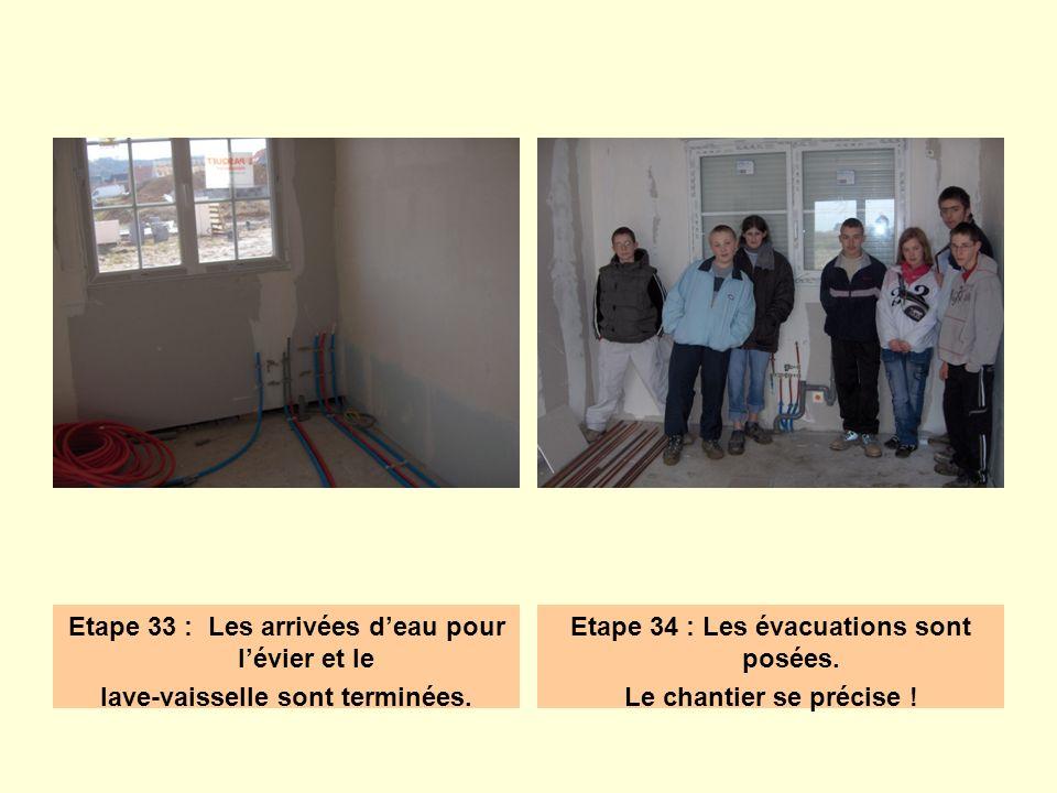 Etape 33 : Les arrivées deau pour lévier et le lave-vaisselle sont terminées. Etape 34 : Les évacuations sont posées. Le chantier se précise !