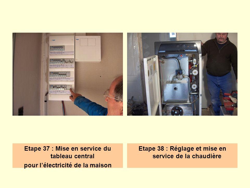 Etape 37 : Mise en service du tableau central pour lélectricité de la maison Etape 38 : Réglage et mise en service de la chaudière