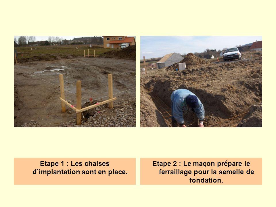 Etape 1 : Les chaises dimplantation sont en place. Etape 2 : Le maçon prépare le ferraillage pour la semelle de fondation.