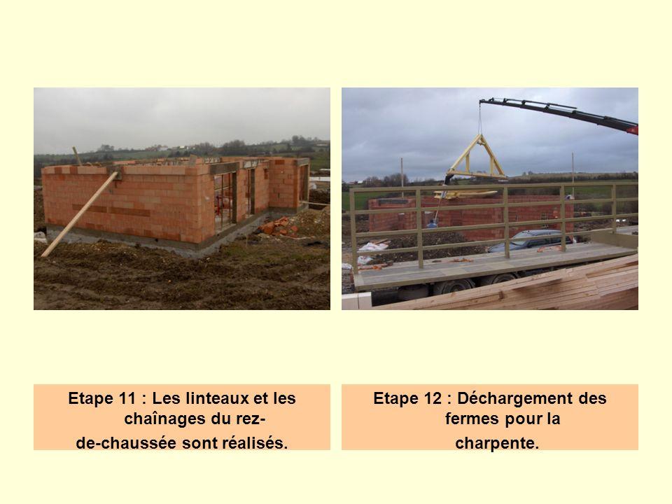 Etape 11 : Les linteaux et les chaînages du rez- de-chaussée sont réalisés. Etape 12 : Déchargement des fermes pour la charpente.