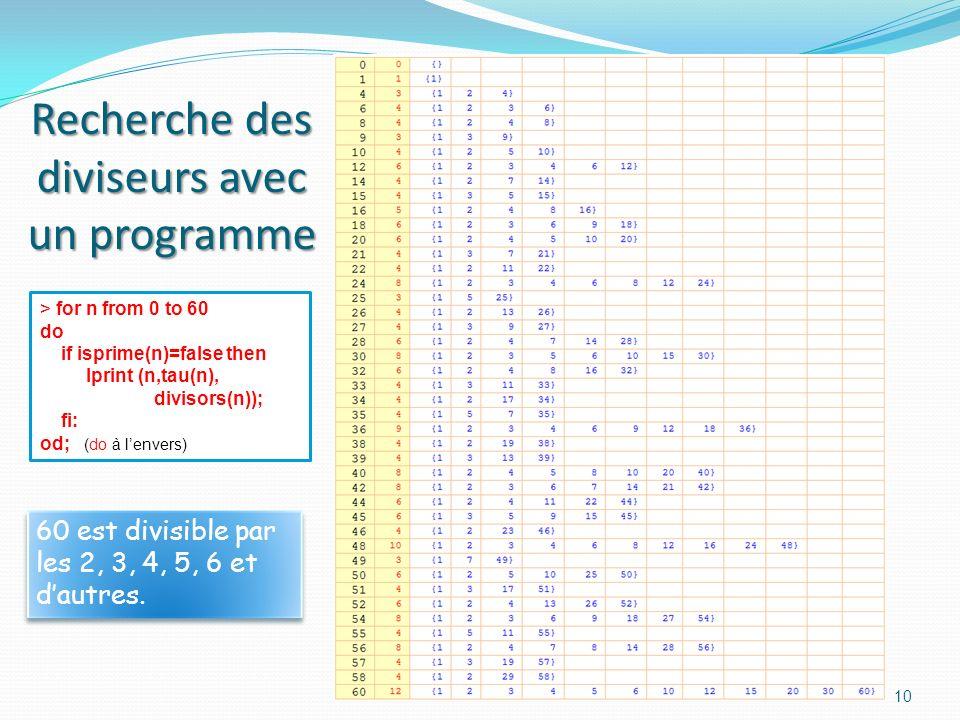 9 Programme Mapple > for n from 0 to 60 do if isprime(n) then lprint(n): fi: end do; Traduction en français: pour n de 0 à 60 faire si (n) est premier