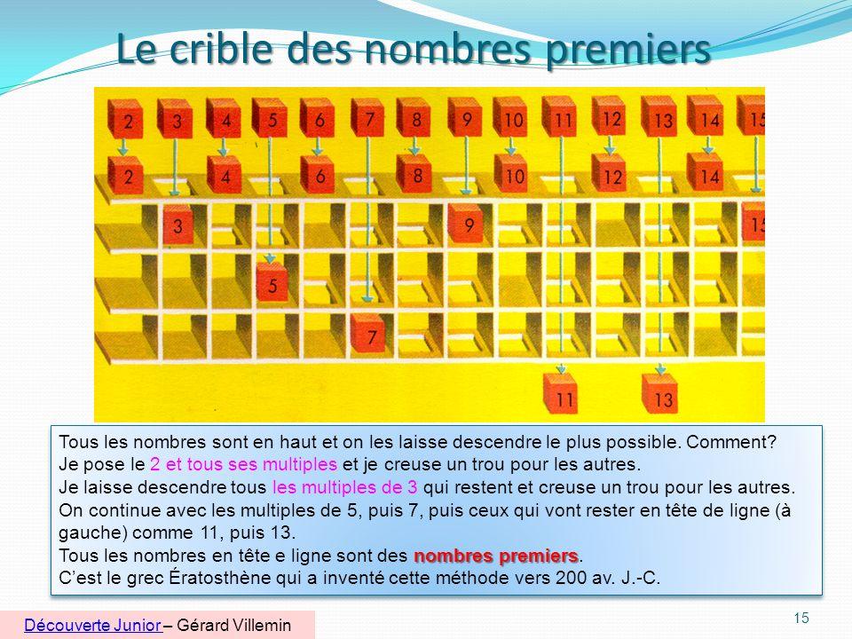 La barre magique des nombres premiers jusquà 100 14 Sur la barre du milieu se trouvent les multiples de 6. Tous les nombres premiers sont juste au-des