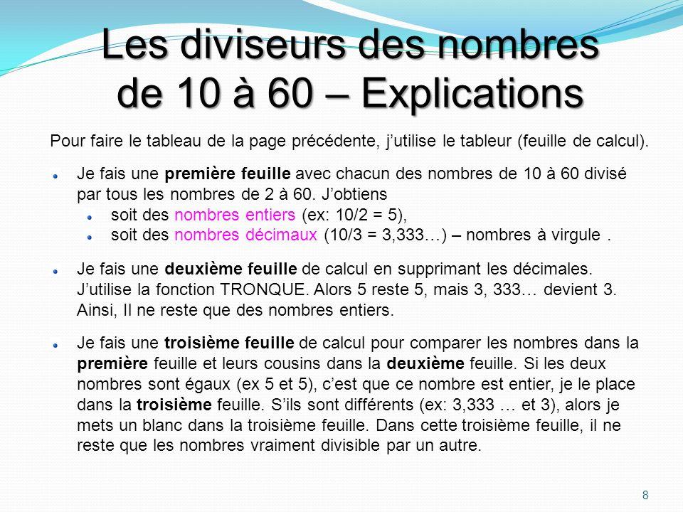 Les diviseurs des nombres de 10 à 60 Les diviseurs des nombres de 10 à 60 (colonne de gauche) Ex: 10 est divisible par 2 et, le résultat (quotient) est 5.