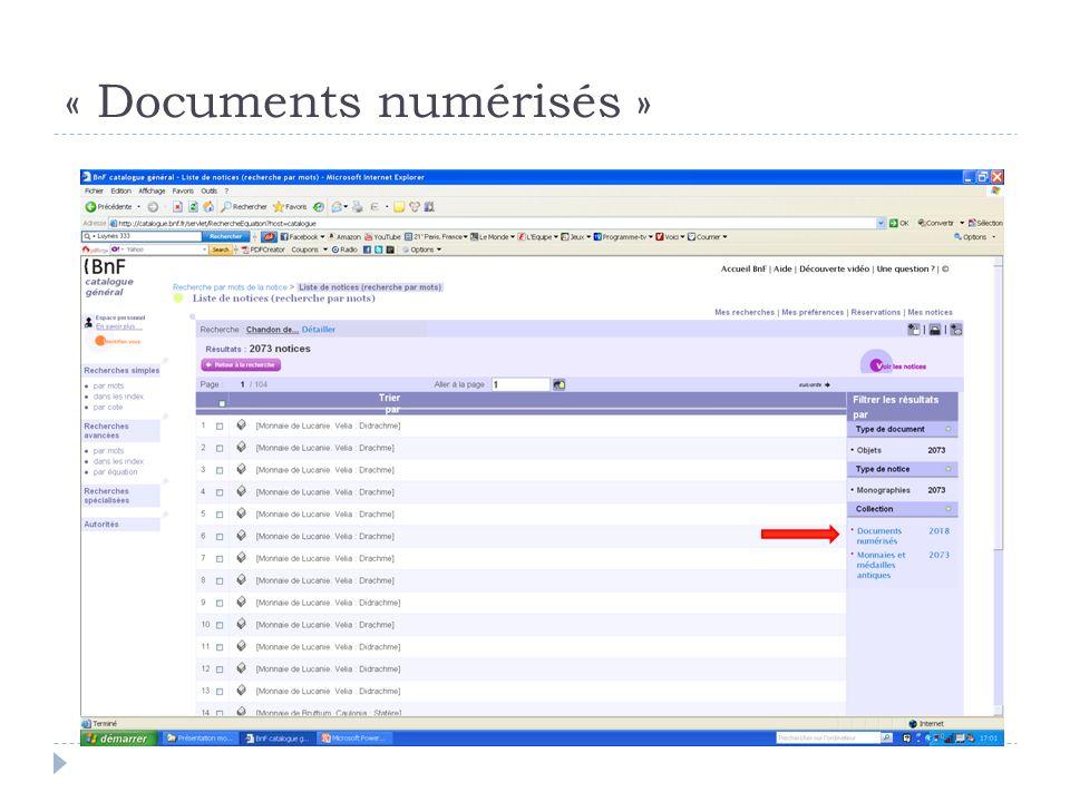 « Documents numérisés »