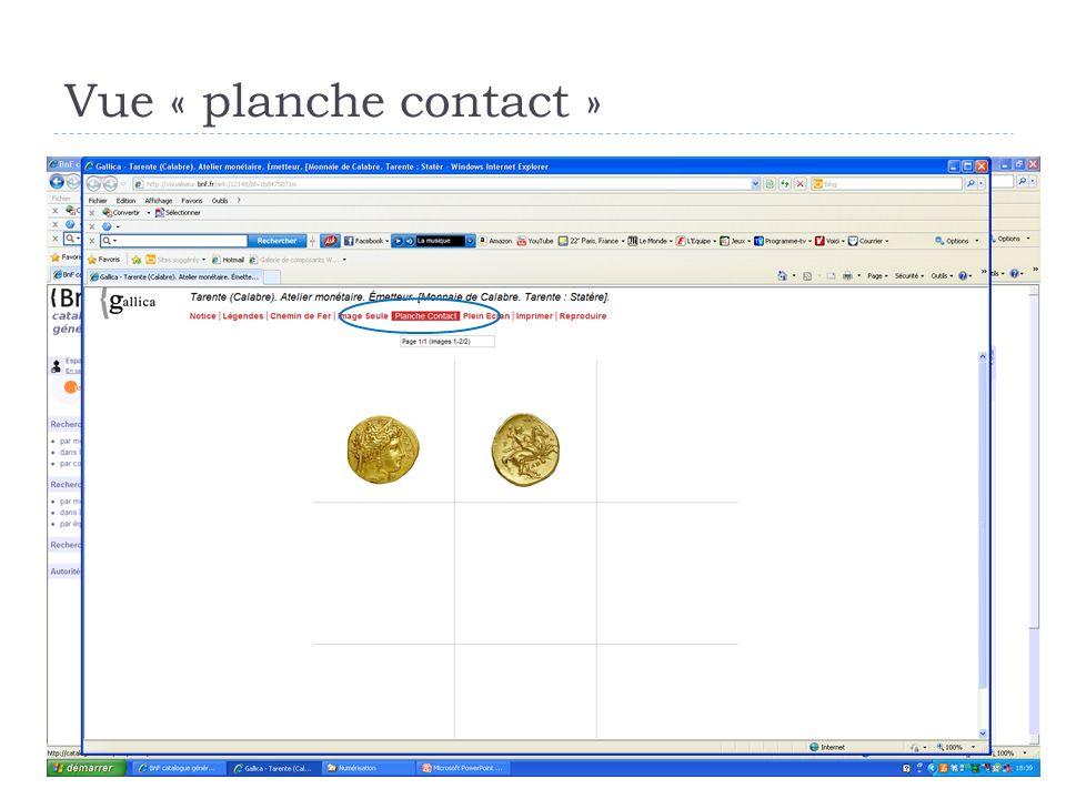 Vue « planche contact »