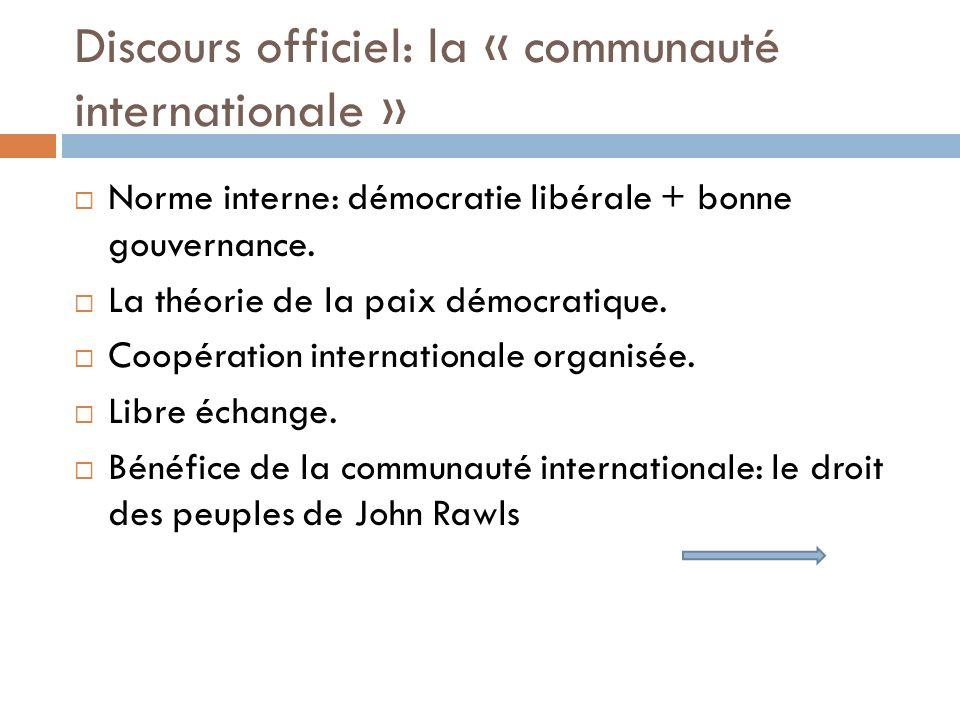 Discours officiel: la « communauté internationale » Norme interne: démocratie libérale + bonne gouvernance. La théorie de la paix démocratique. Coopér