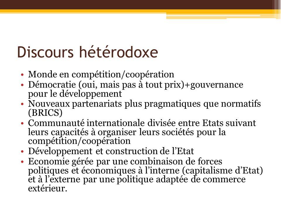 Discours hétérodoxe Monde en compétition/coopération Démocratie (oui, mais pas à tout prix)+gouvernance pour le développement Nouveaux partenariats pl